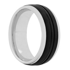 Tungsten Black IP Grooved Band 8MM