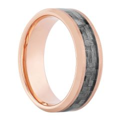 Tungsten Rose IP W/Gray Carbon Fiber Inlay Band 8MM