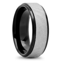 Tantalum Scratch Finish With Black IP Edges And Inside, 8mm